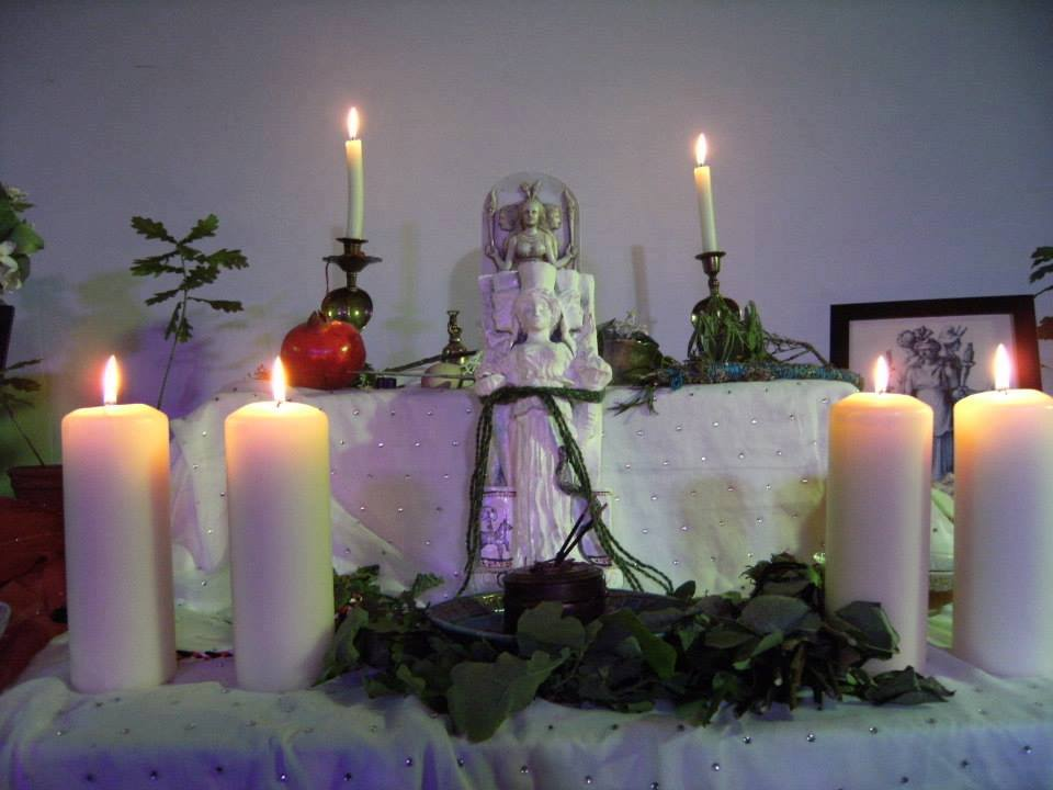 A Shrine for the Goddess Hekate at a festival in her honour in Glastonbury, 2013.