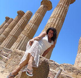 Sorita d'Este, at the Temple of Zeus in the Valley of the Temples, Agrigento.